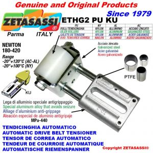 TENSOR DE CORREA LINEAL ETHG2PUKU con rodillo tensor Ø50xL65 en nailon N180:420 con casquillos PTFE