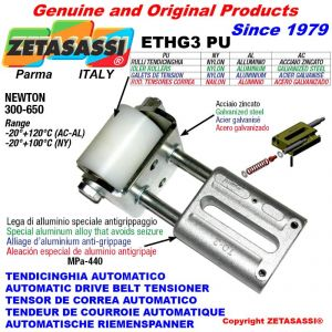 TENSOR DE CORREA LINEAL ETHG3PU con rodillo tensor Ø60xL90 en acero cincado N300:650