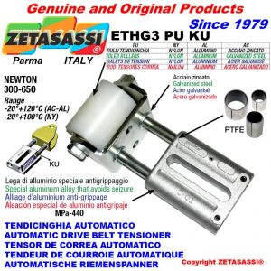 LINEAR DRIVE BELT TENSIONER ETHG3PUKU with idler roller Ø60xL90 in zinc-coated steel N300:650 with PTFE bushings