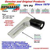 TENSOR DE CORREA AJUSTABLE TF con rodillo tensor y rodamientos Ø60xL60 en acero cincado