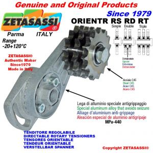 "DIRECTIONAL CHAIN TENSIONER ORIENTRRSRDRT with idler sprocket 12B1 3\4""x7\16"" Z15"