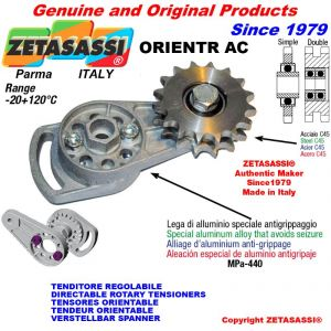 "DIRECTIONAL CHAIN TENSIONER ORIENTRAC with idler sprocket simple 20B1 1""¼x3\4"" Z9"