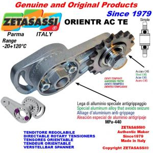 "DIRECTIONAL CHAIN TENSIONER ORIENTRAC with idler sprocket simple 16B1 1""x17 Z12 hardened"