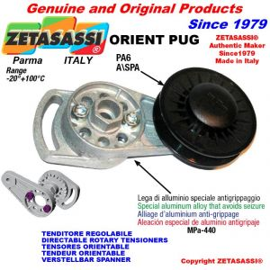 "DIRECTIONAL BELT TENSIONER ORIENTPUG  with A/SPA rim pulley and bearings type PUG 4"" in nylon"