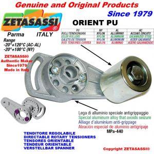 TENSOR DE CORREA ORIENTABLE ORIENTPU con rodillo tensor y rodamientos Ø30xL35 en aluminio