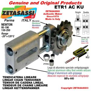 "LINEAR DRIVE CHAIN TENSIONER ETR1ACKU with idler sprocket simple 08B1 1\2""x5\16"" Z18 Newton 95-190 with PTFE bushings"