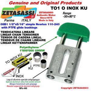 """Tendicatena lineare serie inox 08B1 1/2""""x5/16"""" semplice Newton 110-240 con boccole PTFE"""
