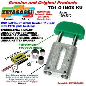 """Tendicatena lineare serie inox 10B1 5/8""""x3/8"""" semplice Newton 110-240 con boccole PTFE"""
