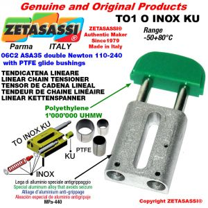 Tendicatena lineare serie inox 06C2 ASA35 doppio Newton 110-240 con boccole PTFE