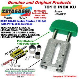 Tendicatena lineare serie inox 08A2 ASA40 doppio Newton 110-240 con boccole PTFE