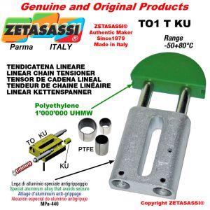 Tendicatena lineare 08A1 ASA40 semplice Newton 130-250 con boccole PTFE