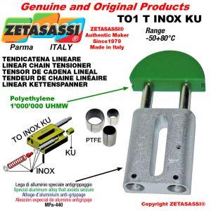 """Tendicatena lineare serie inox < 08B1 1/2""""x5/16"""" semplice Newton 110-240 con boccole PTFE"""